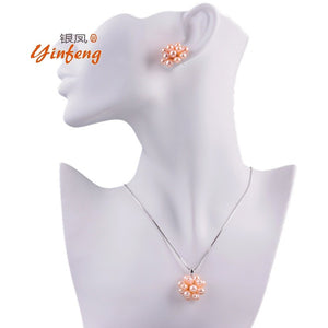 Fashion jewelry set charm pearl necklace with stud earrings match to dress for female women party - Shopatronics