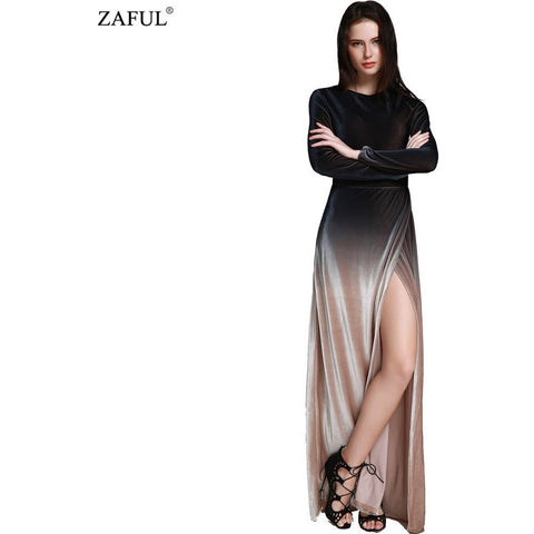 ZAFUL 2016 New Brand Fashion Long Sleeve Dropped Armholes Split Hem Dress Women Sexy Side Slit Vintage Club Party Dresses - Shopatronics