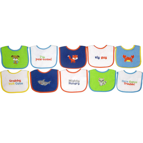 Knit Terry 10-Pack Bibs With PEVA, Boy - Shopatronics