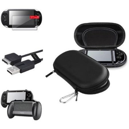 Insten Black Hand Grip+Screen Protector+Black EVA Case+USB Cable For Sony PS Vita PSV - Shopatronics