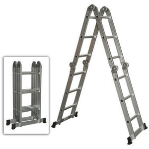 Multi Purpose Aluminum Ladder Folding Step Ladder Scaffold Extendable Heavy Duty - Shopatronics