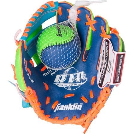 "Franklin Sports 9.5"" Tee Ball Recreational Glove with Ball, Blue/Lime/Orange, Left-Handed Thrower - Shopatronics"