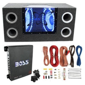 "Pyramid BNPS102 10"" 1000W Dual Car Subwoofers + Box + 1100W Mono Amp + Amp Kit - Shopatronics"