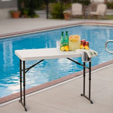 Lifetime 4' Adjustable Folding Table, White Granite - Shopatronics