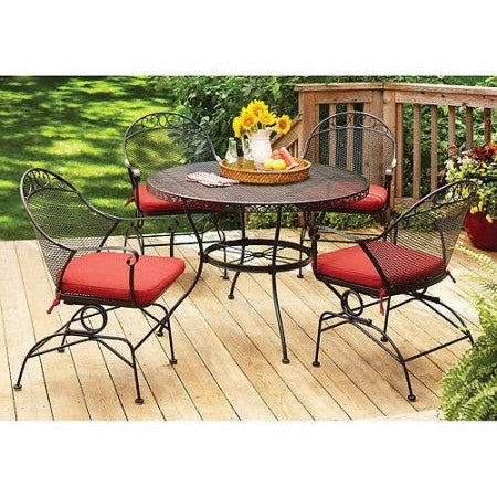 Better Homes and Gardens Clayton Court 5-Piece Patio Dining Set, Red, Seats 4 - Shopatronics