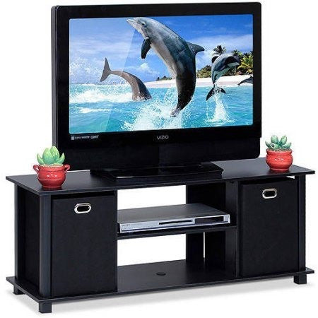 Furinno 13054BK/BK Econ Entertainment Center with Storage Bins - Shopatronics - One Stop Shop. Find the Best Selling Products Online Today