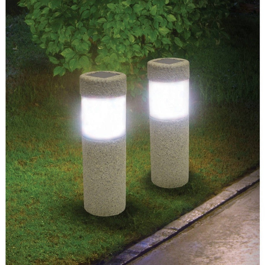 Ideaworks JB7381 Stone Pillar Lights Grey and Black, Set of 2 - Shopatronics