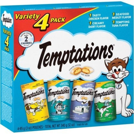 Temptations Variety 4 Pack Treats for Cats, 3 oz, 4 count - Shopatronics
