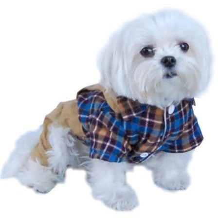 Blue/Brown Plaid Top with Denim Overalls Puppy Dog Pet Outfit (One-Piece) Apparel - Large - Shopatronics - One Stop Shop. Find the Best Selling Products Online Today