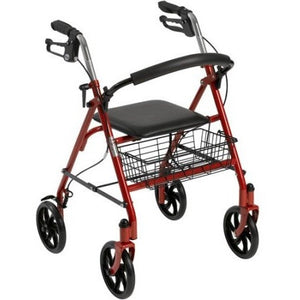 Drive Medical Four Wheel Walker Rollator with Fold Up Removable Back Support, Red - Shopatronics