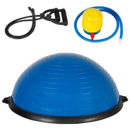 Exercise Fitness Blue Yoga Balance Trainer ball W/ Resistance Bands & Pump - Shopatronics