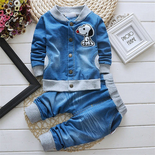 New fashion baby boys clothing set spring/autumn children cotton  clothes set kids boys cowboy coats +jeans 2pcs suit - Shopatronics