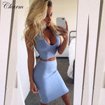 new hot sky blue khaki pink blue choker deep v neck two piece set celebrity party dress knee length sexy bandage dresses 2016 - Shopatronics