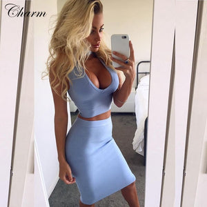 new hot sky blue khaki pink blue choker deep v neck two piece set celebrity party dress knee length sexy bandage dresses 2016 - Shopatronics - One Stop Shop. Find the Best Selling Products Online Today