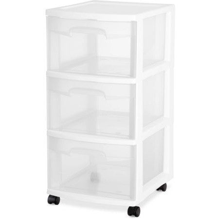 Sterilite 3 Drawer Cart- White (Available in Case of 2 or Single Unit) - Shopatronics