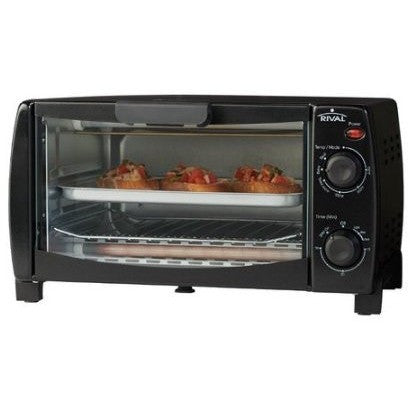 Rival 4-Slice Toaster Oven, Black - Shopatronics