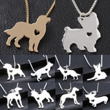Cute Pet Dog Family Stroll Design pendant necklace Fashion Women Charming Alloy Chain Necklace - Shopatronics