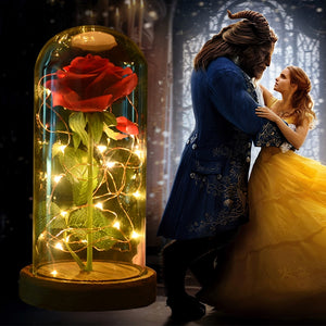 Artificial Flowers Red Roses Decoration Beauty and the Beast with Glass Dome