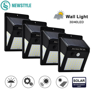40/100/144 LED Outdoor Solar Wall Lamp PIR Motion Sensor Waterproof Light