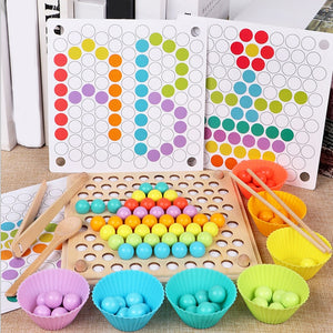 Wooden Beads Game Montessori Educational Early Learn Children Clip Ball Puzzle Preschool