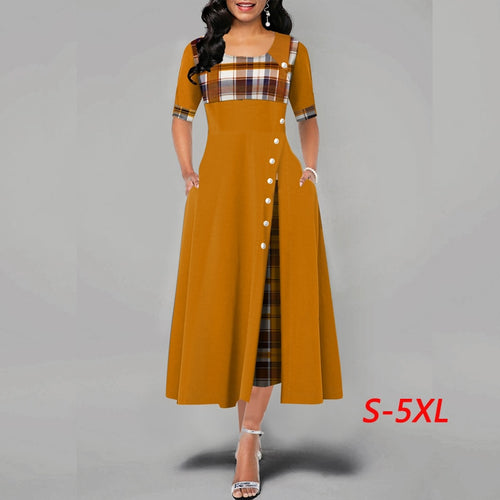 Women Casual Irregular Plaid Print Maxi Dresses