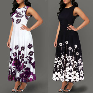 Large Size Elegant Dresses Women's Floral Print Long Maxi Dress