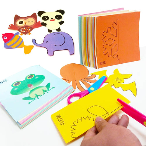 48pcs Children Cartoon DIY Colorful Paper Cutting Folding Toys Kids Educational Craft
