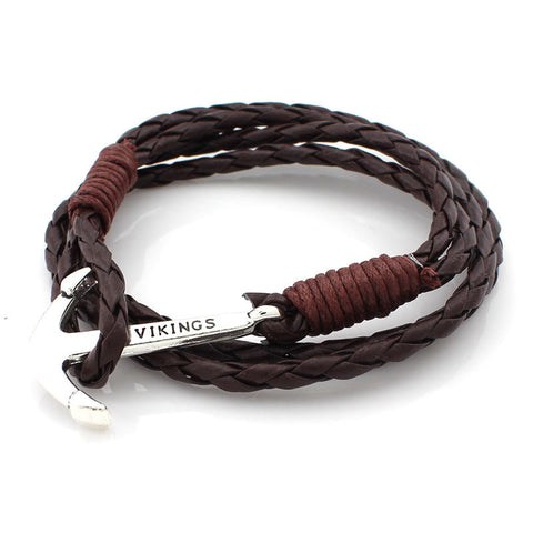 New Arrival Fashion Jewelry 4-strand PU Leather Bracelet Punk Charm Anchor Bracelets for Women Men Wristband