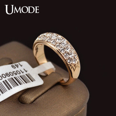 Classic Rose Gold Plated Rhinestones Studded Finger Rings