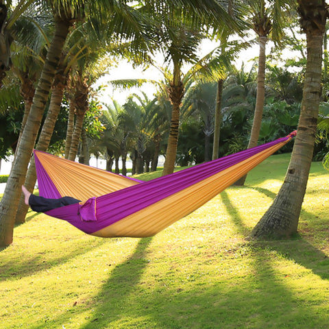 Best Portable Nylon Single Person Hammock Parachute Parachute Fabric Hammock For Travel Hiking Backpacking Camping Hammock 17 Colors