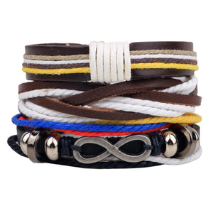 1 Set 4PCS leather bracelet Men's multi-layer bead bracelet women's retro punk casual men's jewelry - Shopatronics - One Stop Shop. Find the Best Selling Products Online Today