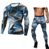 New Fitness Men Sets Camouflage Compression Shirts + Leggings Base Layer Crossfit Brand Long Sleeve T Shirt Clothing - Shopatronics