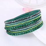 Leather Bracelet Rhinestone Crystal Bracelet Wrap Multilayer Bracelets for women - Shopatronics