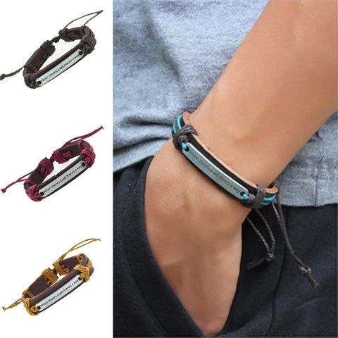 [BUY 1 GET 1 FREE + FREE SHIPPING] 'Where There's Will There's a Way' Genuine Leather Bracelet For Women & Men