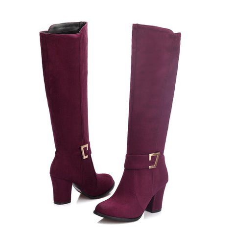 New Fashion Ladies Sexy Knee High Boots Zipper Long Boots Thick High Heels Shoes - Shopatronics