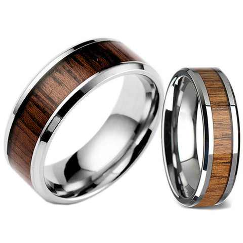[BUY 1 GET 1 FREE + FREE SHIPPING] Men & Women Fashion Creative Wide Band Wood Titanium Steel Ring Size 6-12