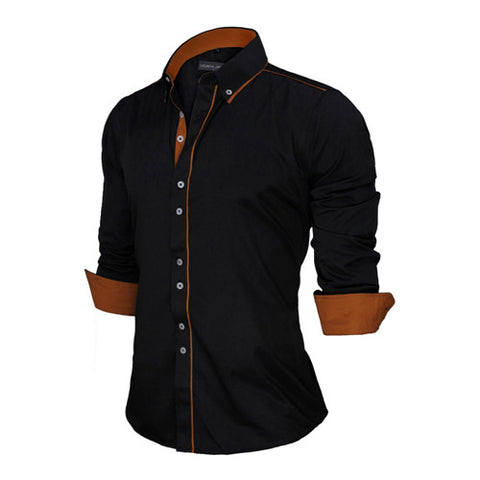 New Arrivals Slim Fit Male Shirt Solid Long Sleeve British Style