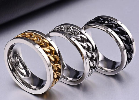 Titanium Steel Men Women Finger Ring with Chain Inset