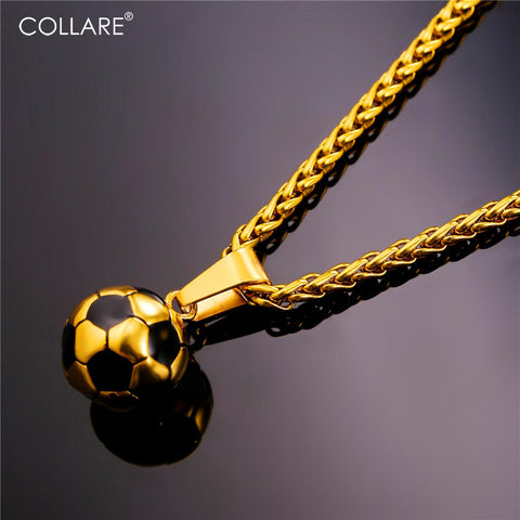 Gold Color Football Necklace & Pendant