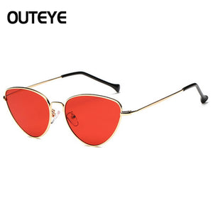 Tinted Color Lens Vintage Shaped Sunglasses Women Eyewear 70s Luxe Red Female Sunglasses - Shopatronics
