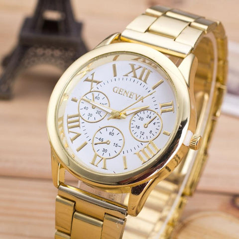 Roman Numerals Female Watch Stainless Steel Classic Round Dial Gold Quartz Wristwatches - Shopatronics