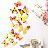 New Qualified Wall Stickers 12pcs Decal Wall Stickers Home Decorations 3D Butterfly Rainbow  PVC Wallpaper for living room - Shopatronics