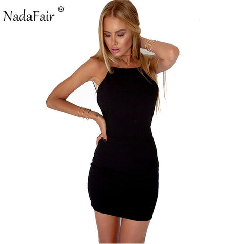 Nadafair 95% Cotton Spaghetti Strap Black Sexy Club Backless Bodycon Dress Women Summer Beach Casual Mini Dress - Shopatronics