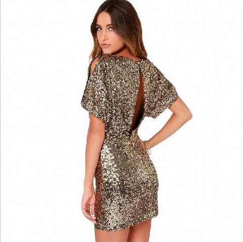 Metallic Sequined Dress Slim Sexy Hip Package Nightclub Women Slit Backless Dresses - Shopatronics
