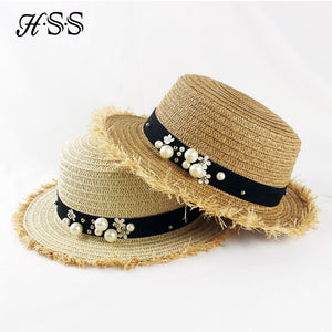 Hot Sale+Flat top straw hat Summer Spring trip caps - Shopatronics