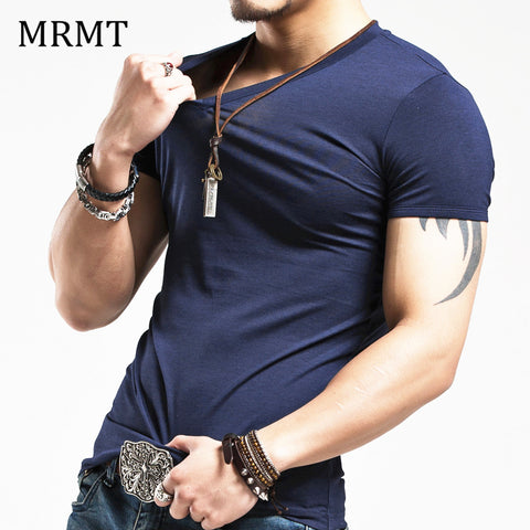 Elastic V neck Men T Shirt Men Fashion Tshirt Fitness Casual Male T-shirt 5XL - Shopatronics