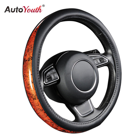 AUTOYOUTH Car Steering Wheel Cover Small Black Lychee Pattern Crescent Wood Grain Universal 38cm /15 inch Car Styling for Toyota