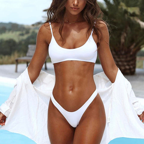 Sexy Women Triangle Padded Bra Push-up Throng Swimwear Bikini Solid White Black Blue Brown Swimsuit Bathing Suit - Shopatronics