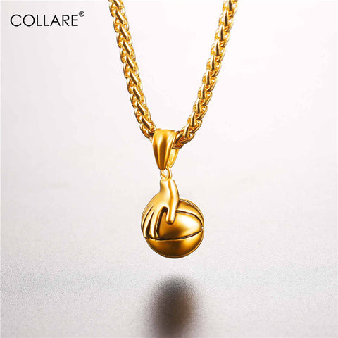 Gold Color Hand Basketball Necklaces & Pendants