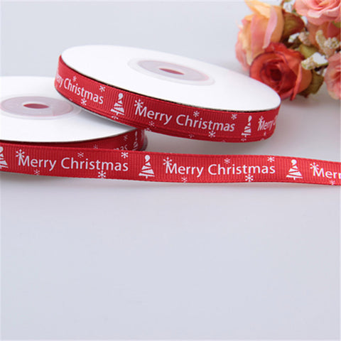 25 Yards/1cm Red Thread Printed Ribbon Handmade Christmas Gift Wrap Ribbon DIY Decoration Material - Shopatronics - One Stop Shop. Find the Best Selling Products Online Today